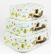 Spring forest owl suitcase set
