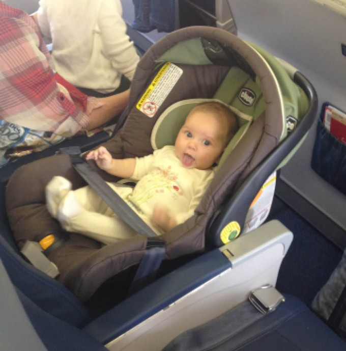 Car Seat On The Plane For A Toddler